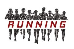 Marathon runners, Group of Men and Women running with text running Stock Photography