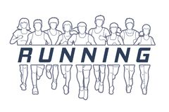 Marathon runners, Group of Men and Women running with text running. Illustration graphic vector Royalty Free Stock Photos