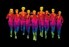 Marathon runners, Group of people running, Men and women running. Graphic vector Stock Photography