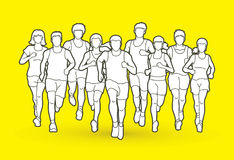 Marathon runners, Group of people running, Men and women running. Graphic vector Royalty Free Stock Images