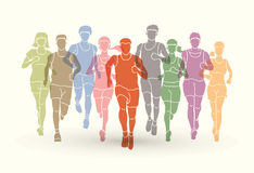 Marathon runners, Group of people running, Men and women running. Graphic vector stock illustration