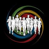 Marathon runners, Group of people running, Men and women running Stock Images
