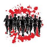 Marathon runners, Group of people running, Men and women running Stock Photo