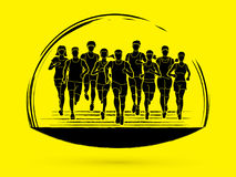 Marathon runners, Group of people running, Men and women running Royalty Free Stock Images
