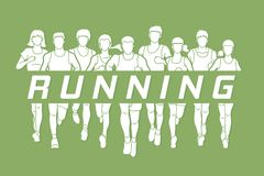 Marathon runners, Group of people running, Men and Women running with text running. Illustration graphic vector Royalty Free Stock Images