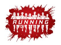 Marathon runners, Group of people running, Men and Women running with text running. Illustration graphic vector Stock Photo