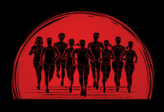 Marathon runners, Group of people running, Men and women running together Royalty Free Stock Images