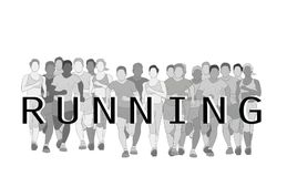 Marathon runners, Group of people running, Men and Women running with text running design using grunge brush graphic vector. Royalty Free Stock Photo