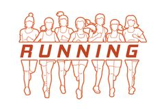 Marathon runners, Group of women running with text running. Illustration graphic vector vector illustration