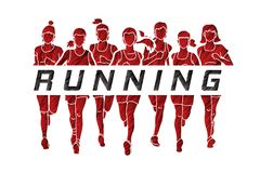 Marathon runners, Group of women running with text running. Illustration graphic vector Royalty Free Stock Photo
