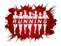Marathon runners, Group of women running with text running Royalty Free Stock Images