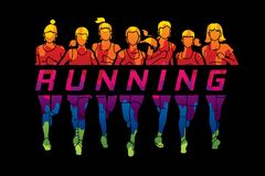 Marathon runners, Group of women running with text running. Illustration graphic vector Stock Images