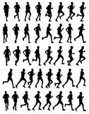 40 marathon runners. 40 high quality male marathon runners silhouettes Royalty Free Stock Image