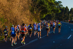 Marathon Runners Hill Sunrise Stock Photos