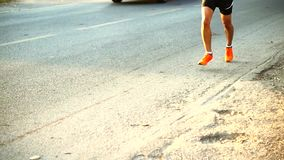 Marathon runners morning stock footage