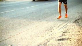 Marathon runners morning stock footage