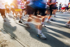 Marathon runners in motion. Running Royalty Free Stock Photos