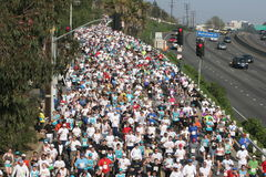 Marathon runners next to the Hollywood Freeway stock images