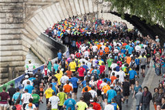 Marathon runners in paris Stock Image