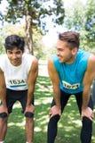 Marathon runners in park Stock Photo