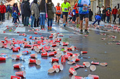 Marathon Runners Reach A Drinks Station Stock Image