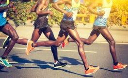 Marathon runners running royalty free stock photo