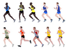 Marathon runners. Set of marathon runners - vector illustration Royalty Free Stock Image