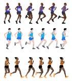 Marathon runners. Set of 18 marathon runners - illustration Stock Image