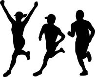 Marathon Runners Silhouette Collection Set Royalty Free Stock Photos