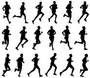 18 marathon runners silhouettes. Vector royalty free illustration