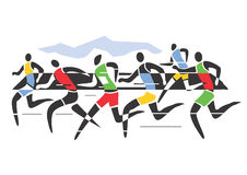 Marathon runners. A stylized drawing of Marathon runners.Vector illustration Stock Photos