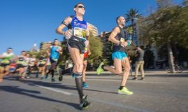 Marathon runners ultra wide angle front view Royalty Free Stock Photos