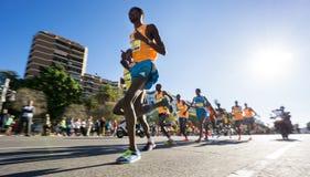 Marathon runners ultra wide angle Stock Photo