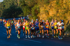 Marathon Runners Up Hill Sunrise Royalty Free Stock Photos