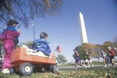 Marathon Runners by The Washington National Monument, Washington, D.C. Stock Images