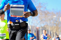Marathon running race, black runner on road Stock Image