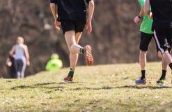 Marathon running race, people feet Royalty Free Stock Photos