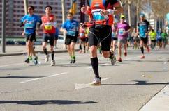 Marathon running race, people feet on road, sport concept Stock Photo