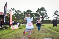 Fancy Marathon Fit people running race at park Royalty Free Stock Photography