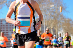 Marathon running race, runners on road Royalty Free Stock Image