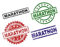 Damaged Textured MARATHON Stamp Seals. MARATHON seal prints with distress surface. Black, green,red,blue vector rubber prints of MARATHON text with corroded stock illustration