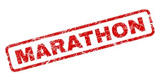 Scratched MARATHON Rounded Rectangle Stamp. MARATHON stamp seal print with distress style. Red vector rubber print of MARATHON text with unclean texture. Text stock illustration