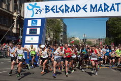 Marathon start-1. BELGRADE-APRIL 16:A group of runners start race on The29th Belgrade Marathon.April 16, 2016 in Belgrade,Serbia Royalty Free Stock Photography