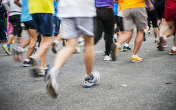Marathon start, shoes runner. No face Royalty Free Stock Photo