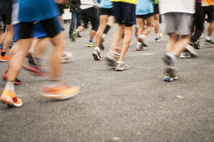 Marathon start, shoes runner. No face Royalty Free Stock Photos