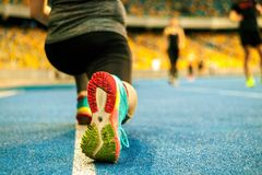 Athletes stretching their legs on race track in the stadium, preparing for training. close up cropped photo. stock photos