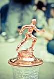 Marathon trophy for champion. Soft colorful effect background stock photography