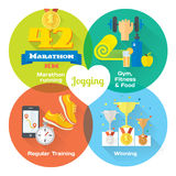 Marathon winner concept flat icons of gym, healthy food, metrics. Stock Images