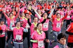 Marathon. Woman`s running Marathon Buenos Aires royalty free stock photo