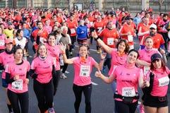 Marathon. Woman`s running Marathon Buenos Aires royalty free stock photography